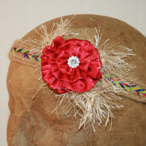 Girls Tan Aztec Boho Headband with Red Rosette